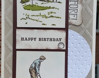 Happy Birthday STAMPIN' UP Fore! Golf Greeting Card Kit Set Of 4