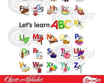 Objects Alphabet Clipart / Digital Clip Art for Commercial and Personal Use / INSTANT DOWNLOAD