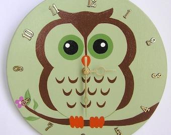 Nursery Wall Clock, Nursery Owl Clock, Owl Wall Clock, Children's Room Wall Clock, Owl Wall Clock, Kid's Room Owl Wall Clock