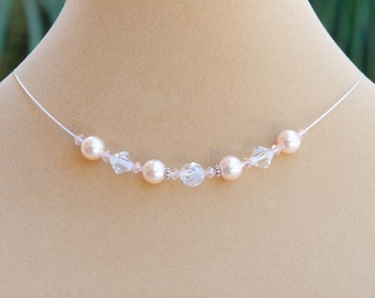 Light Peach Necklace, Light Peach Pearl Necklace, Peach Floating Necklace, Peach Bridesmaid Necklace with Swarovski® Pearl, Jewelry