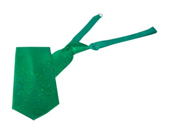 Emerald Green Sparkling Banded Straight Tie