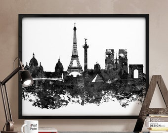 Paris print, Paris poster, France, art print, black & white, wall art, home decor, travel poster, city prints abstract distress iPrintPoster