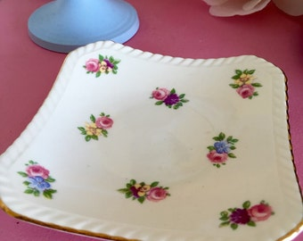 Pretty vintage floral Adderley little china trinket dish