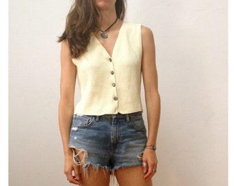 Vintage 90's Cropped Sweater Vest Button Front Cream Small Made in USA