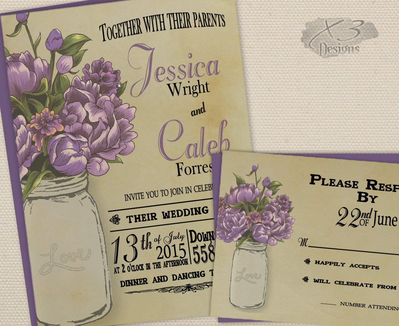 One Page Wedding Invitations: Printable Wedding Invitations DIY Rustic Mason Jar Wedding