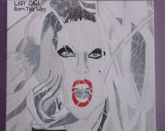 Hand painted Lady gaga on canvas
