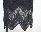 Goth crochet lace maxi skirt with zigzag hem, Vintage, Black, Knit, The Craft, Witchy, Stevie Nicks, Boho, High Low, Uneven, Festival,