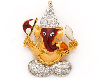 Ganesha Diamond Pendant in 18Kt Yellow Gold and 0.42 Ct  real diamonds with colourful Enamel (glass) work Ganesh Pendant Gold