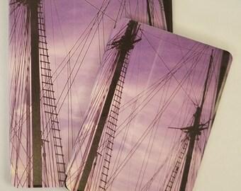 Tall Ships Masts Against Purple Sky Design on iPad Full Case ~ Available for Apple iPad 2/3/4, iPad Mini, iPad Air & iPad Air 2