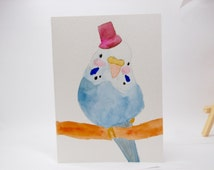 Original Hand Painted Framable Handsome Budgie Parakeet Bird with Hat Cute Adorable Watercolor Blank Greeting Card
