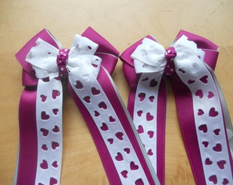 Horse Show Hair Bows - Cut-out Hearts
