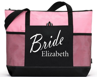 Bride Bag:Heavy tote bag with Name, zippered main compartment,  Heavy canvas, Bridal Shower Gift, Bachelorette Party, Engagement, Carryall,