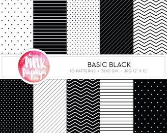 Digital Paper Patterns | Basic Black | 12 x 12 inches