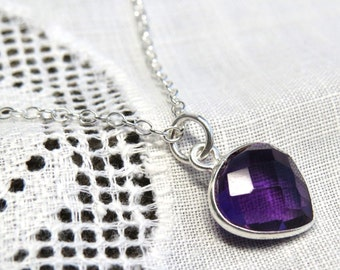 amethyst drop necklace, silver amethyst necklace, amethyst jewelry, faceted amethyst charm, gemstone necklace, gemstone jewelry