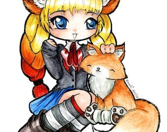 Kawaii Kitsune Fox Chibi Artwork Original Art