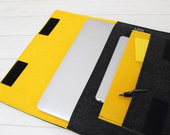 Macbook sleeve 12, Macbook Air case 11, New Macbook sleeve, felt laptop case, yellow laptop case, felt Macbook case, 12 inch laptop case
