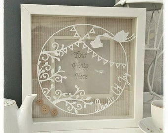 Commercial use, Make your own 'Bundle Of Joy Frame' papercut template. Designed by Curious Bird Keepsakes