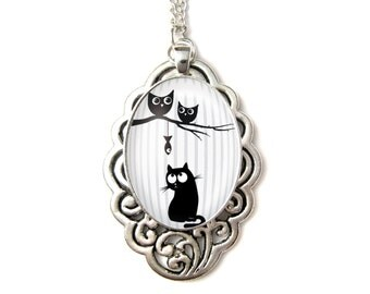 Cat & Owl necklace