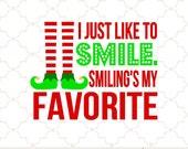 SVG I just like to smile christmas elf PNG EPS digital