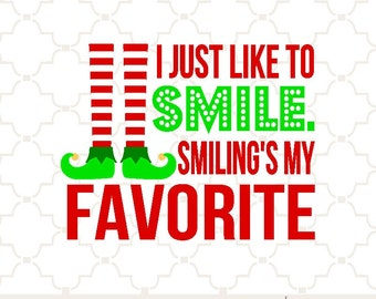 SVG I just like to smile christmas elf PNG EPS digital