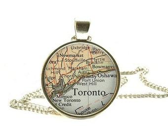 Toronto, Canada vintage map pendant, Toronto map pendant, Toronto map necklace, Toronto pendant