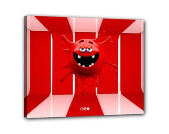 Red Splash funny monster fun creature 3d Character Minimalist Virtual Digital Art Abstract Multimedia Modern Futuristic canvas Art by NEO