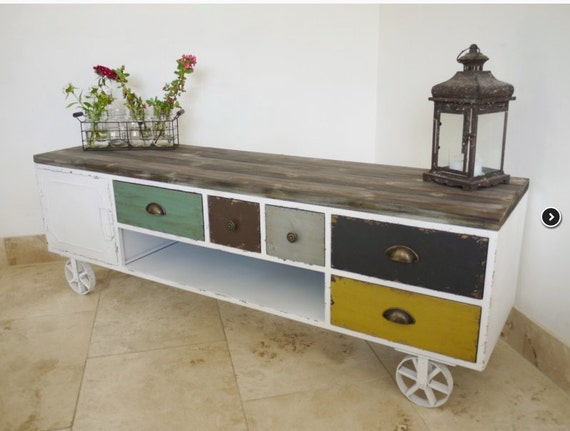 Industrial vintage multi colour tv sideboard by for 50cm deep kitchen units