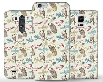 Cute Owl On Branch Pattern Flower Hard Case Cover Apple iPhone 5 5s 5c 6 Plus Samsung Galaxy S6 s4 s5 Note 3 4 Sony Xperia Z3 Z1 Z2 Lg G2 G3