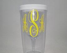 Monogrammed Vino2go 10 oz Acrylic Wine Tumbler / Personalized Wine Sippy Cup / Monogrammed Wine Glass / Personalized / Wine Cup / Gift