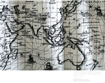 World map linen cotton fabric vintage voyage navigation sailing vintage world map linen cotton fabric voyage sailing ocean collection for home decor curtain quilting fabric 27x57 gumiabroncs Gallery