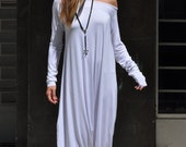 New Colection-Extra Long Sleeves White Jumpsuit / Cotton Union Suit / Loose Casual White Drop Crotch Harem Pants  by EUGfashion