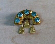 Vintage Russian Good Luck Brooch Traditional Slavic Style Brooch Blue Rhinestones Brooch Rainbow with Russian Ornament Great for Shawl