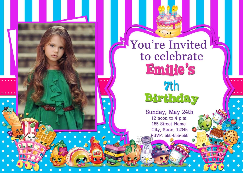 Shopkins Photo Invitations Birthday By DigitalWorld1