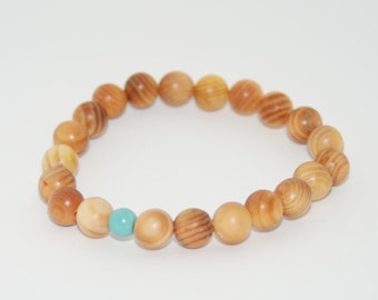 The 'Lonley Bead' Bracelet | Wood, Turquoise | Beaded, Stretchy