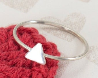TRIANGLE: Cute Sterling Silver Dainty Triangle Ring