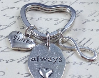 Sister keychain, infinity keychain, gift for sister, heart keychain