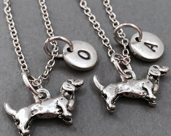 Dachshund necklace, best friend necklace, friendship necklace, bff necklace, animal necklace, personalized necklace, dog necklace