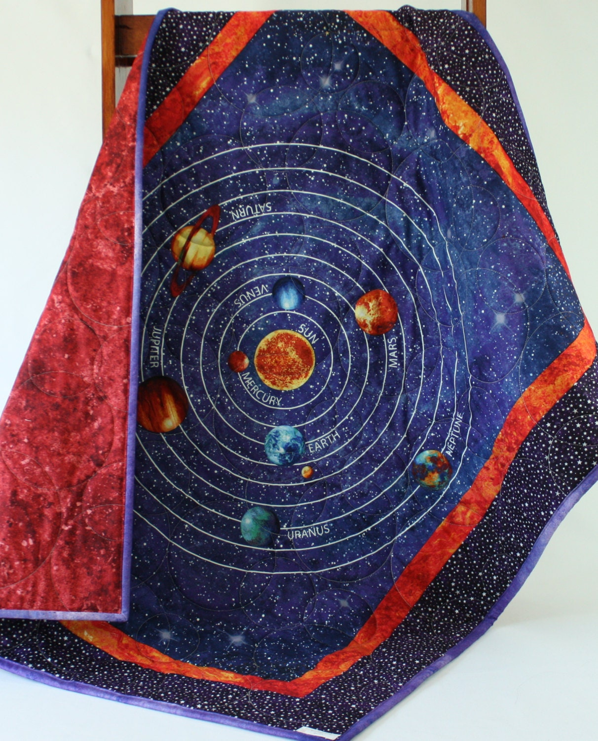 Solar system glow in the dark baby quilt by bordercityquilts for Solar system fabric panel