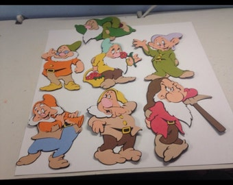 Huge set of Snow White and the Seven Dwarfs and Apple die cuts (47 die cuts total)