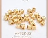 10 PCS Gold Filled Texture Beads/Tiny Strip Texture,5mmx5mm,Handmade,DIY,Bracelet,Necklace,Gold Filled Brass(GFB0048)