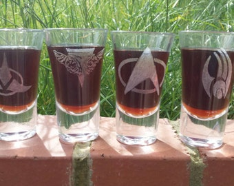 4 Hand etched shot glasses inspired by Star Trek