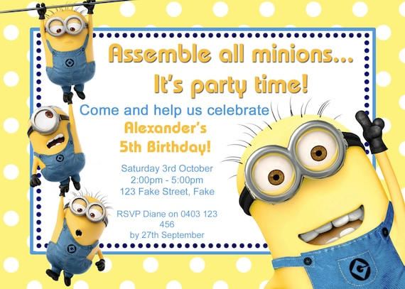 Genius image for printable minion birthday card