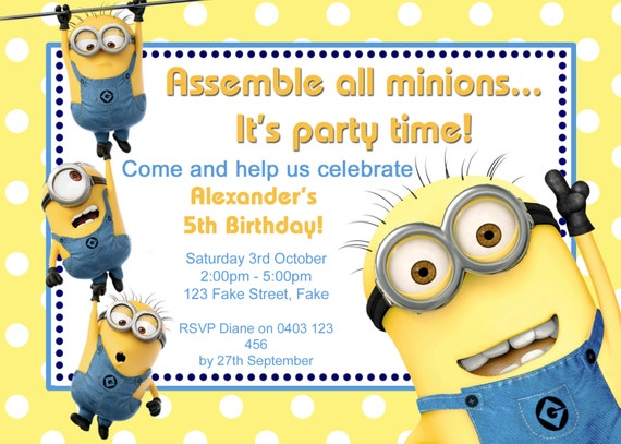 Dynamic image intended for minions printable invitations