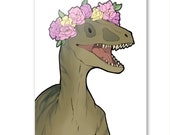 Jurassic World inspired Greetings Card - flower crown