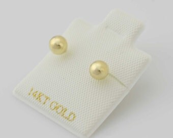 14k Yellow Gold Ball Studs Earrings, 4mm Ball Stud Earrings 14K Gold, 14K Gold Ball Stud Earrings, Broquel Bola 14K,Screw Back Earring