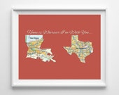 Valentines Day gift, YOUR 2 CITIES & States CUSTOM Maps- Christmas gift, first anniversary gift, honeymoon, state map gift, wedding gift