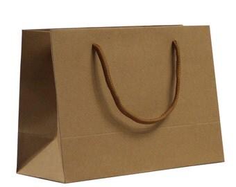 Unbleached kraft paper bags, packaging paper bag high-end clothing bags  24*17*10cm 50pcs