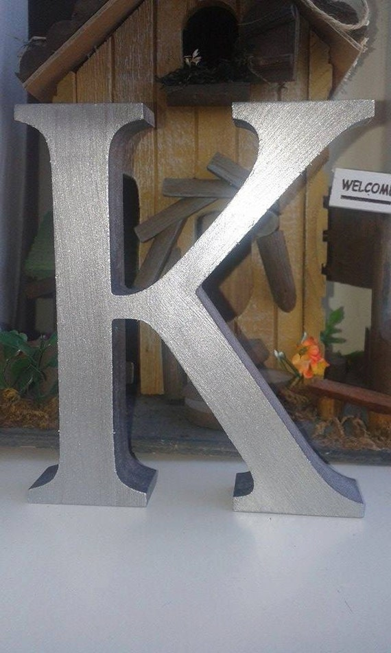 Metallic silver wooden letters and numbers by highspeccraft for Standing wood letters to paint
