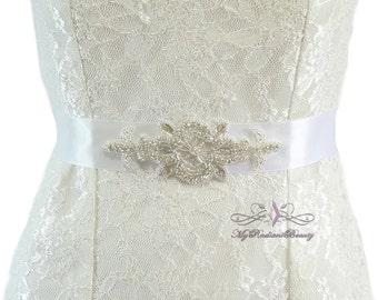 Bridal Sash, Rhinestone Sash Belt, Bridesmaid Sash, Belt, Ribbon Sash, Luxurious Sash, Wedding Sash, Prom Sash, Bridal Belt SB0020