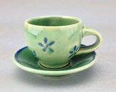 Hand thrown and painted espresso cup and saucer